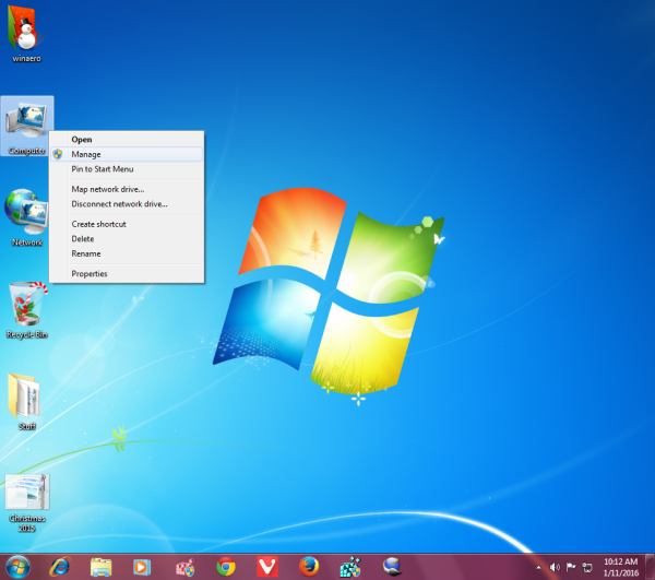 Windows 7 manage context menu Computer