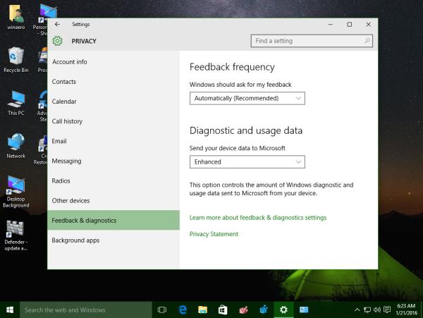 settings app feedback and diagnostics