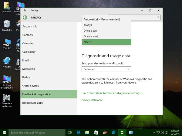 settings app feedback and diagnostics never