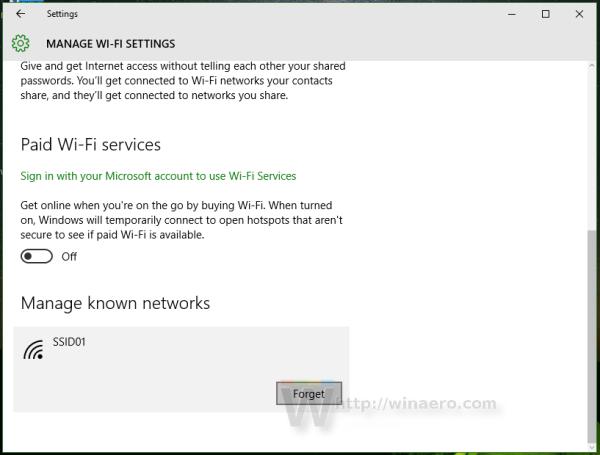 Windows 10 Manage forget w-fi network