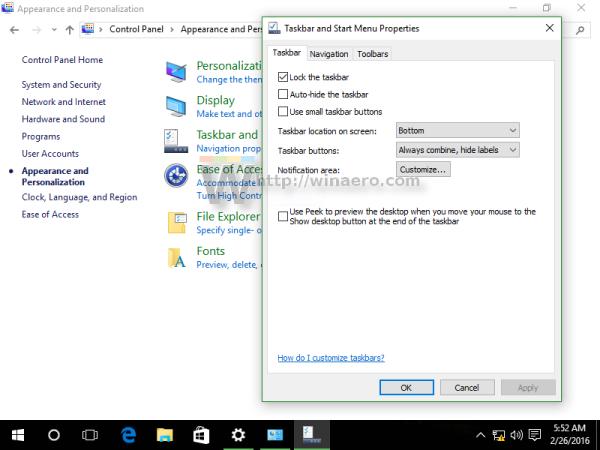 Windows 10 classic taskbar options