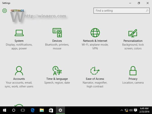 Windows 10 settings app