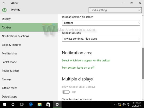 Windows 10 settings taskbar 2