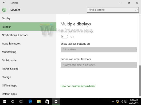 Windows 10 settings taskbar 3