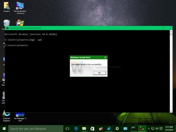 Windows 10 slmgr upk done