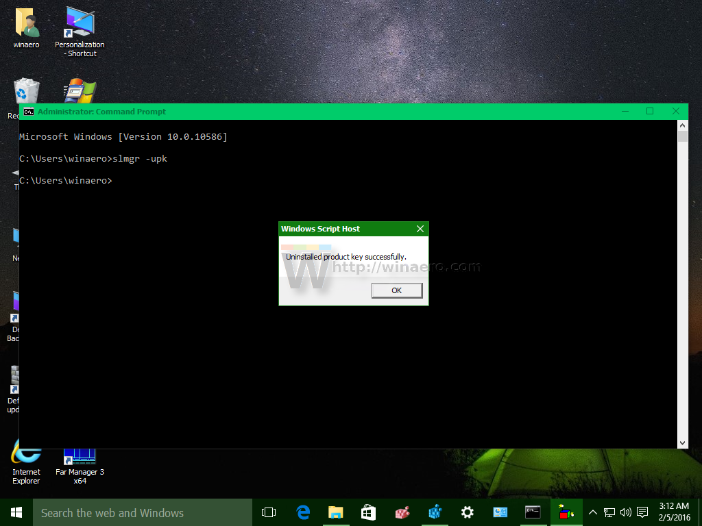 how to change windows key through command prompt