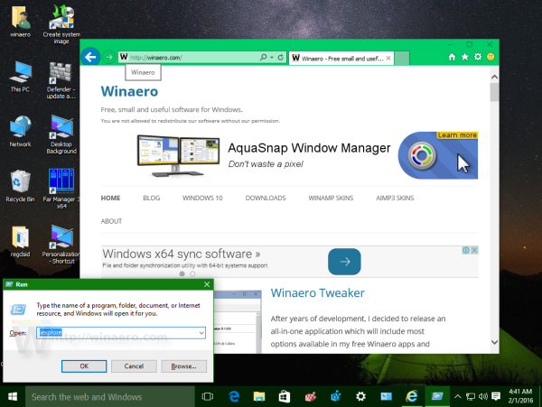 Windows 10 start Internet Explorer