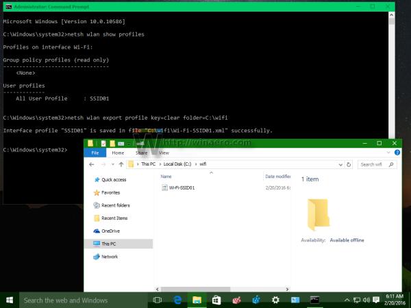 Windows 10 wireless profiles exported