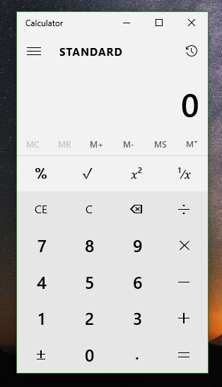 calculator in Windows 10