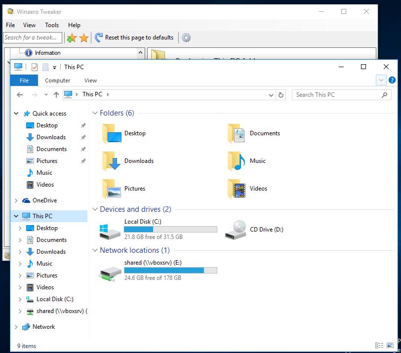 Customize This PC folders with Winaero Tweaker in Windows 10