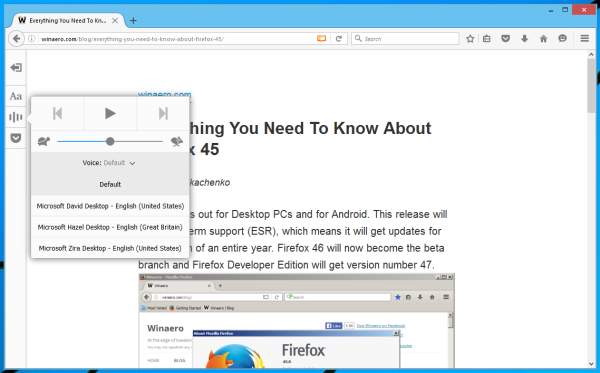 Firefox 48 reader view narrate voice
