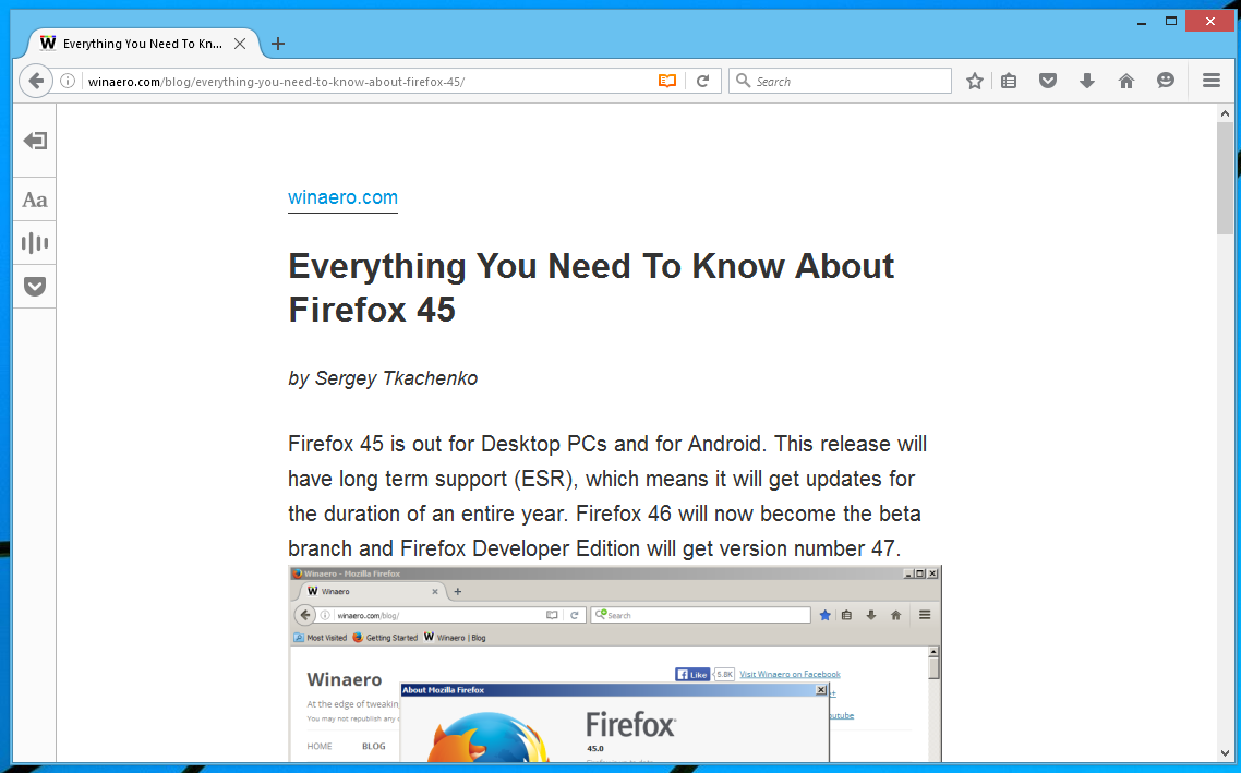 Firefox 48 reader view