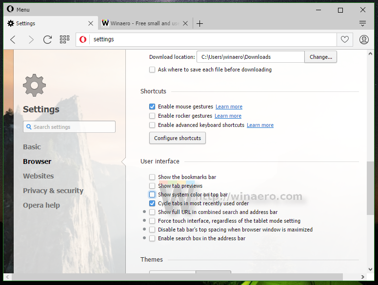 Opera 36 comes with special features for Windows 10 users
