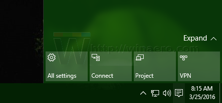 Quick Actions reset in Windows 10