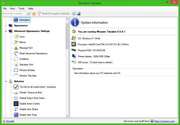 Winaero Tweaker 0.5.0.1