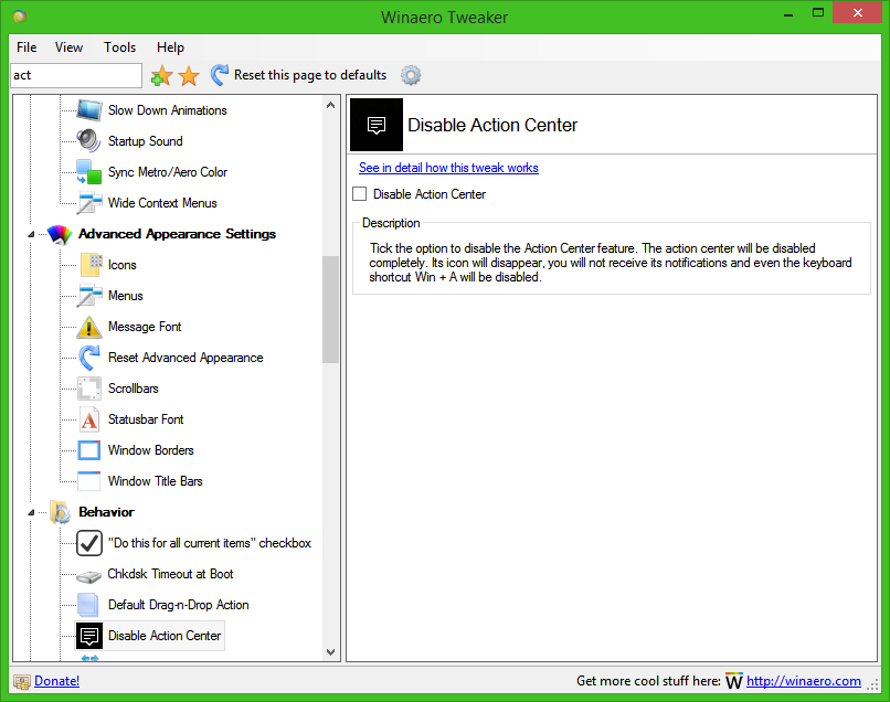 how to disable win 10 action centre