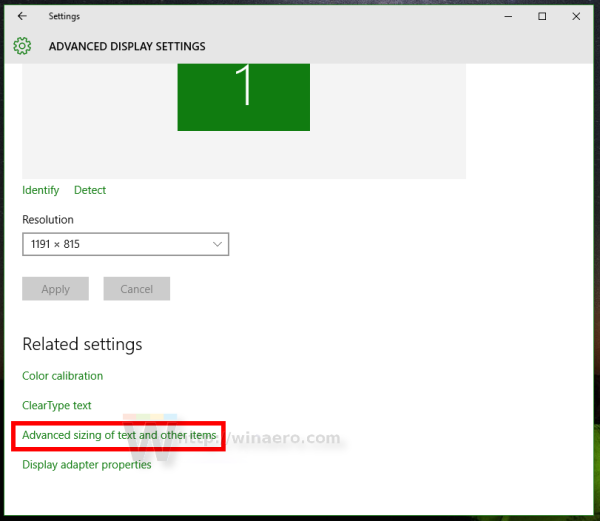 Windows 10 Advanced sizing of text and other items link