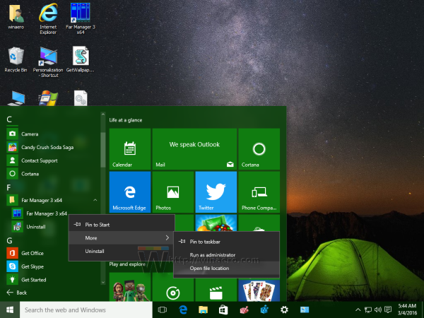 Windows 10 Start menu - more - open file location