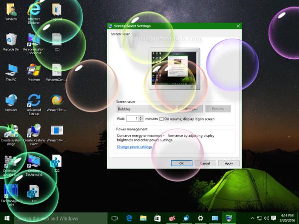 Windows 10 bubbles screensaver