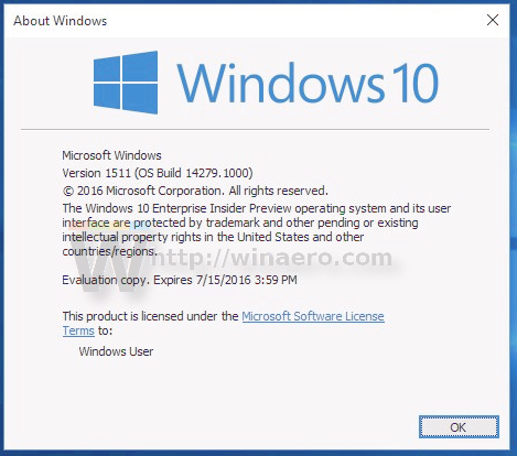 Windows 10 build 14279 winver