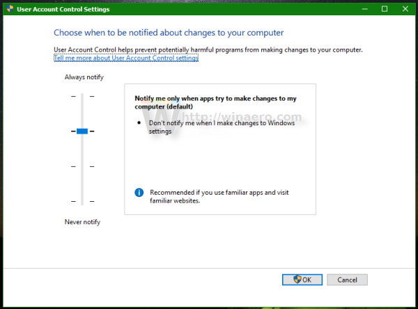 Windows 10 change User Account Control settings window