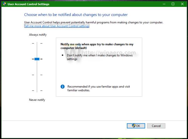 Windows 10 change User Account Control settings window