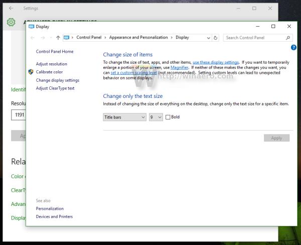 Windows 10 control panel display applet
