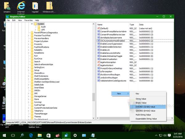 Windows 10 create new 32 bit dword