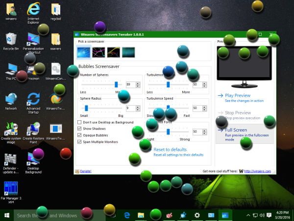 Windows 10 customized bubbles screensaver