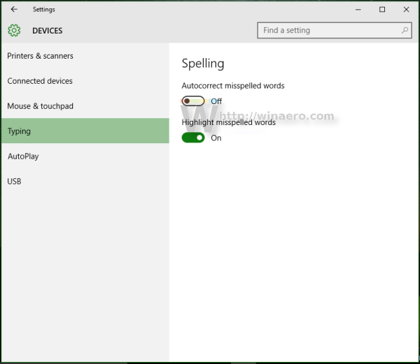 Windows 10 disable autocorrect words
