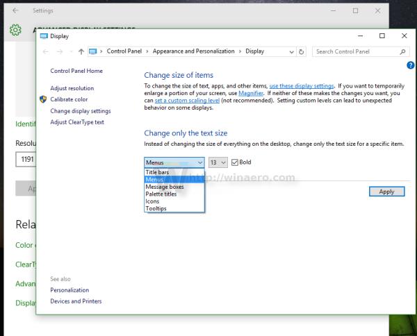 Windows 10 make fonts bigger without DPI change