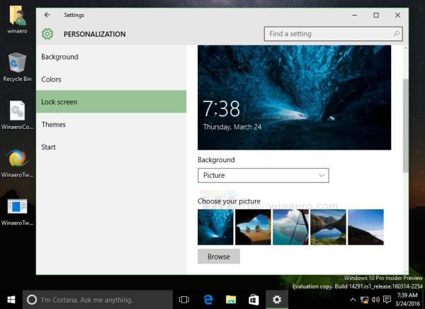 Windows 10 set lockscreen background
