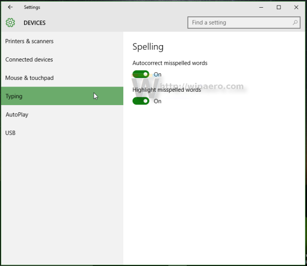 Windows 10 settings devices typing