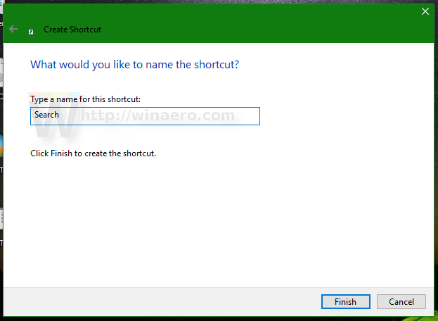 Create a shortcut in windows 10 to open windows 8-like search pane.