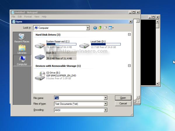 Windows 7 notepad find disk letter