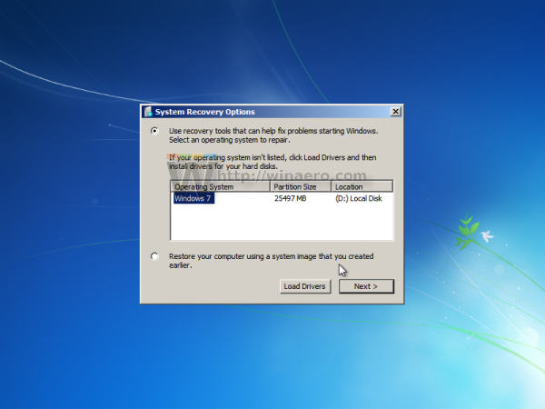 Windows 7 select installed os