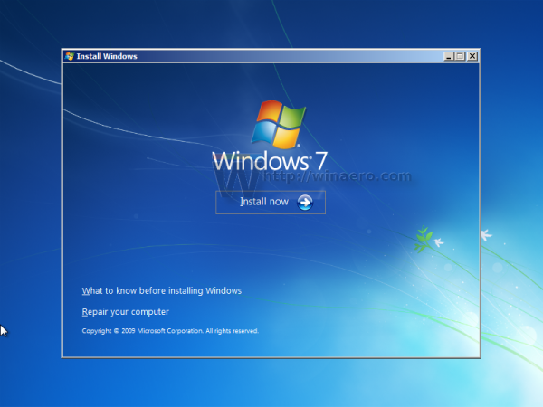 Windows 7 setup screen