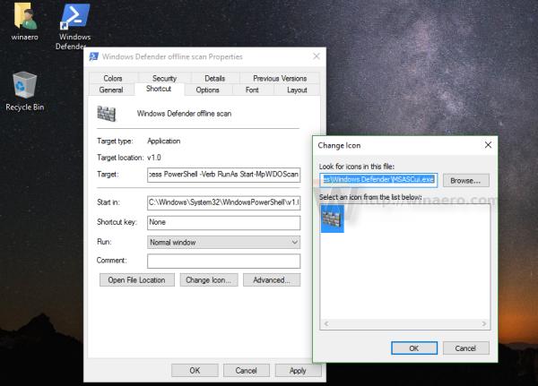 Windows Defender offline scan shorcut icon