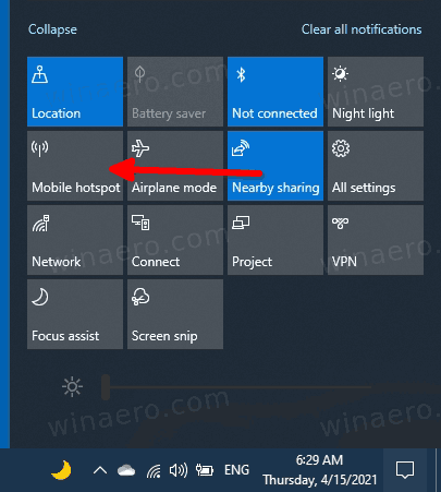 Enable Mobile Hotspot In Action Center