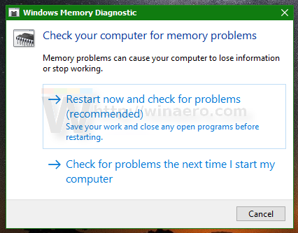 Restart now and check for problems