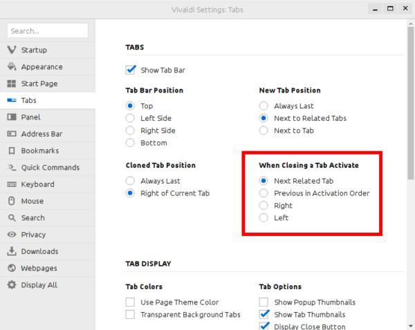 Vivaldi 1.1 close tab options