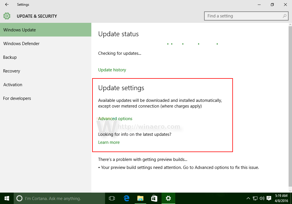 disable windows update active hours in windows 10