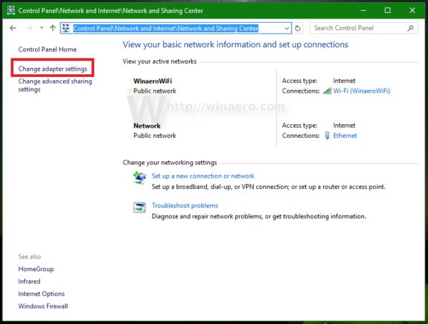 Windows 10 Network and Sharing Center left