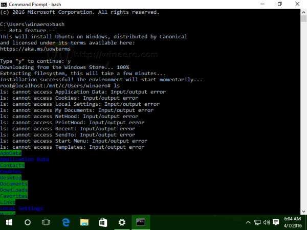 Windows 10 Ubuntu bash in action