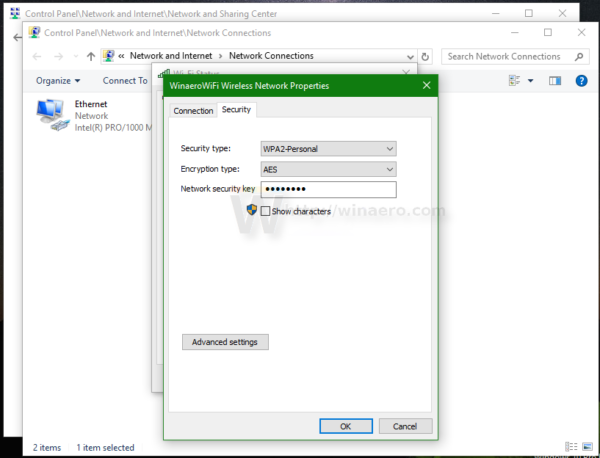 Windows 10 WIFI properties 2