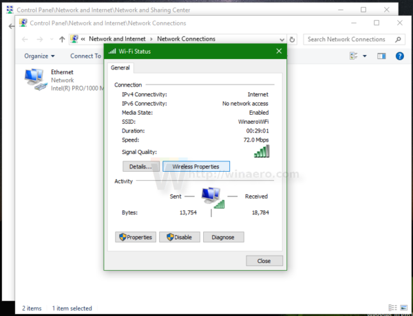 Windows 10 WIFI status