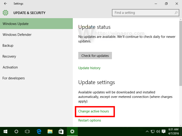Windows 10 Windows update active hours link