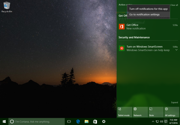Windows 10 action center context menu