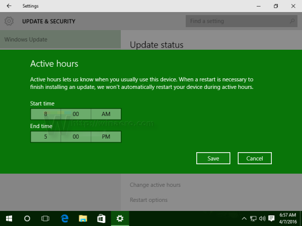 Windows 10 active hours dialog