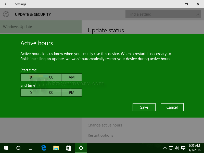 how to change update time on windows 10